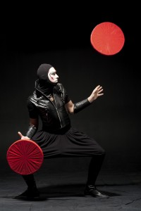 Juggler in black costume